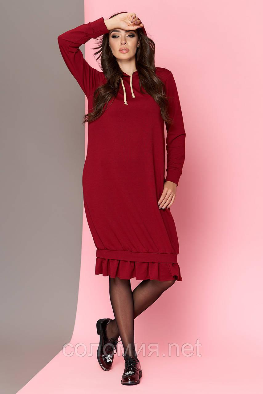 Трикотажне плаття в стилі оверсайз з капюшоном 44-54р