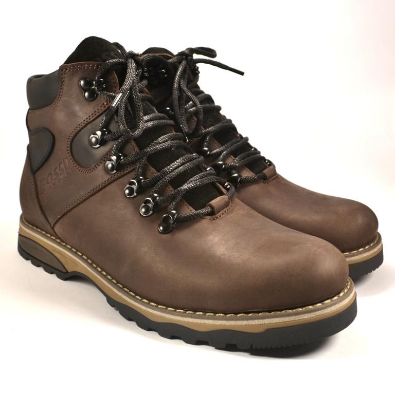 Ботинки мужские кожаные с влагозащитой на овечьем меху Rosso Avangard Indi Jone Brown коричневые