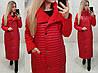 Женская длинная куртка на синтепоне с кашемировыми рукавами