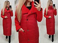 Куртка длинная женская на синтепоне с кашемировыми рукавами в разных цветах