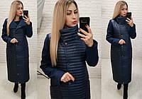Куртка длинная женская на синтепоне с кашемировыми рукавами, фото 1