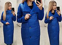 Женская длинная куртка на синтепоне с кашемировыми рукавами, фото 1
