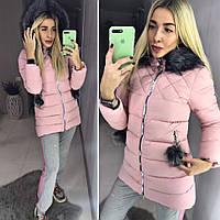 Женская зимняя куртка с помпонами на кармана(производство Китай), фото 1
