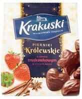 Пряники в шоколаді Krakuski зі смаком полуниці 150g (12шт/ящ)