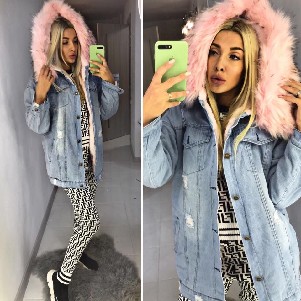 76d334c9 Теплая длинная джинсовая куртка-парка (с мехом внутри ) - Интернет-магазин  модной