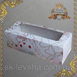 Коробка 140*55*45 мм. для макаронс ангелы окошко