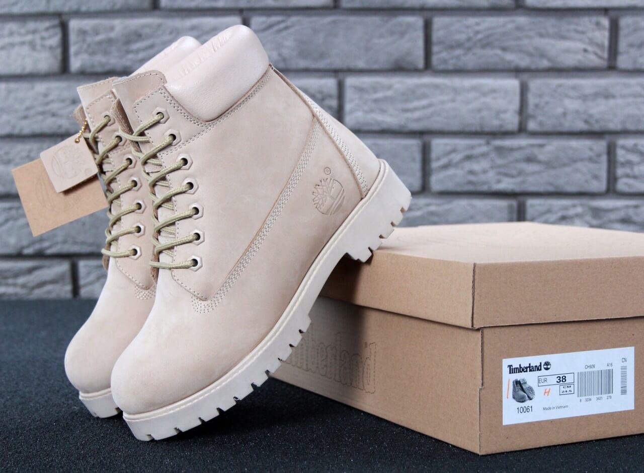 1c670047 Женские зимние ботинки Timberland Classic в бежевом цвете на натуральном  меху - Интернет магазин обуви «
