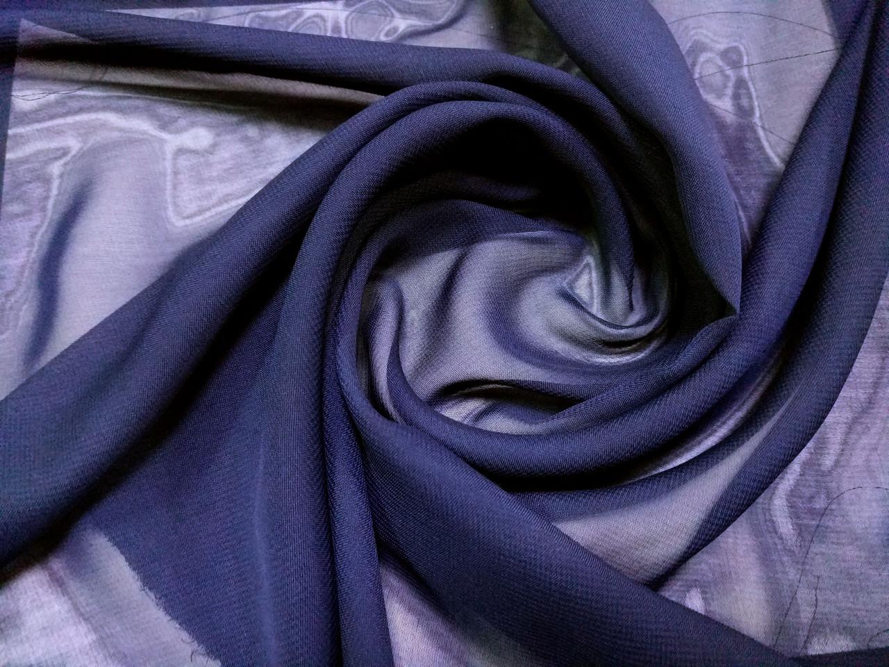 Шифон однотонный, темно-синий