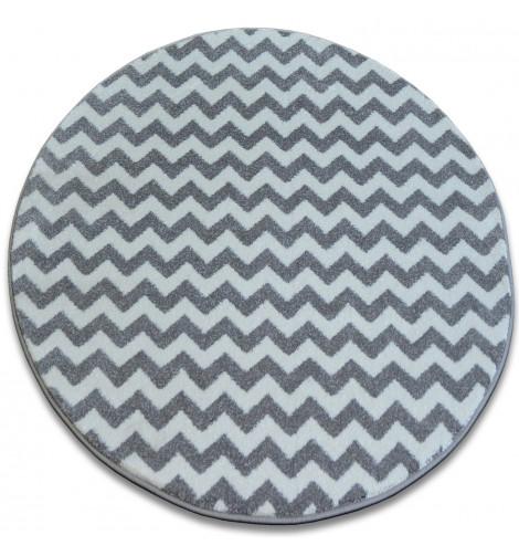 Ковер SKETCH  120 см круглый - F561 серый белый - с зигзаговым узором