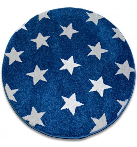 Ковер SKETCH  120 см круглый - FA68 голубой белый - звезды