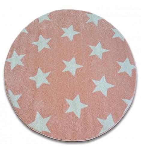 Ковер SKETCH  120 см круглый - FA68 розовый/кремовый - звезды