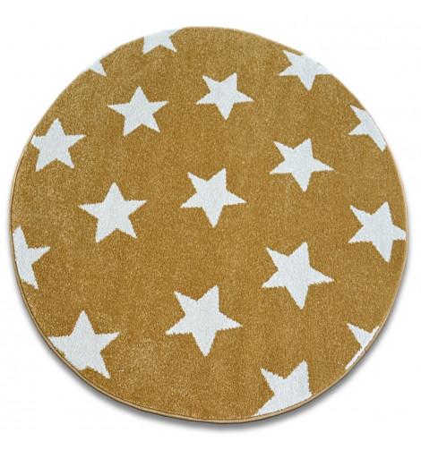 Ковер SKETCH  120 см круглый - FA68 желтый/кремовый - звезды