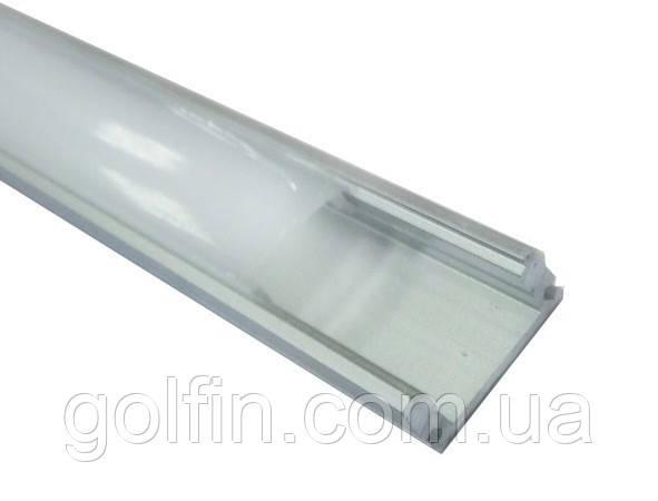 Профиль алюминиевый накладной ЛП-7 (неанодированный) 2м + рассеиватель (КОМПЛЕКТ)