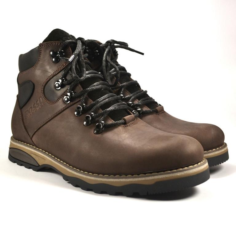 Коричневые ботинки большого размера мужские кожаные с влагозащитой на меху Rosso Avangard BS Indi Jone Brown