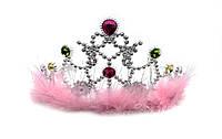 """Ободок """"Корона Принцессы"""" с пухом (серебро) 12шт/упак"""