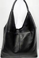 Модная сумка из мягкой натуральной зернистой кожи чёрного цвета, фото 1