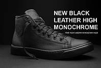 Мужские кожаные кеды кроссовки ботинки Forester черные на мембране, фото 1