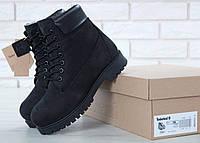 Зимние ботинки Timberland Classic Black натуральный мех (Ботинки Тимберленд черные женские и мужские размеры)