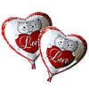 """Фольгированный шар """"Сердце с мишками """", 43х48см. Воздушные шарики оптом."""