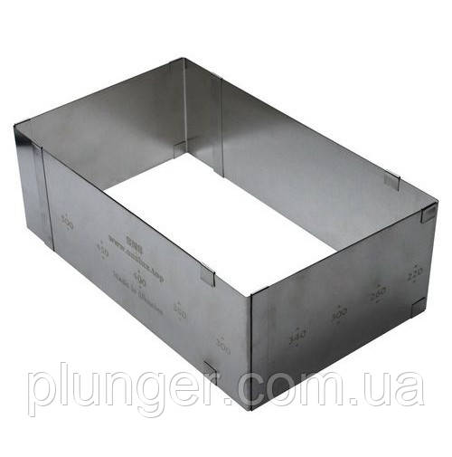 Форма для выпечки металлическая раздвижная Прямоугольник / Квадрат, высота 10 см