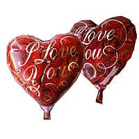 """Фольгированный шар """"Сердце I Love You """", 43х48см. Воздушные шарики оптом."""