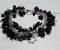 Браслет з чорного каменю Агат - подарунок жінці, фото 1