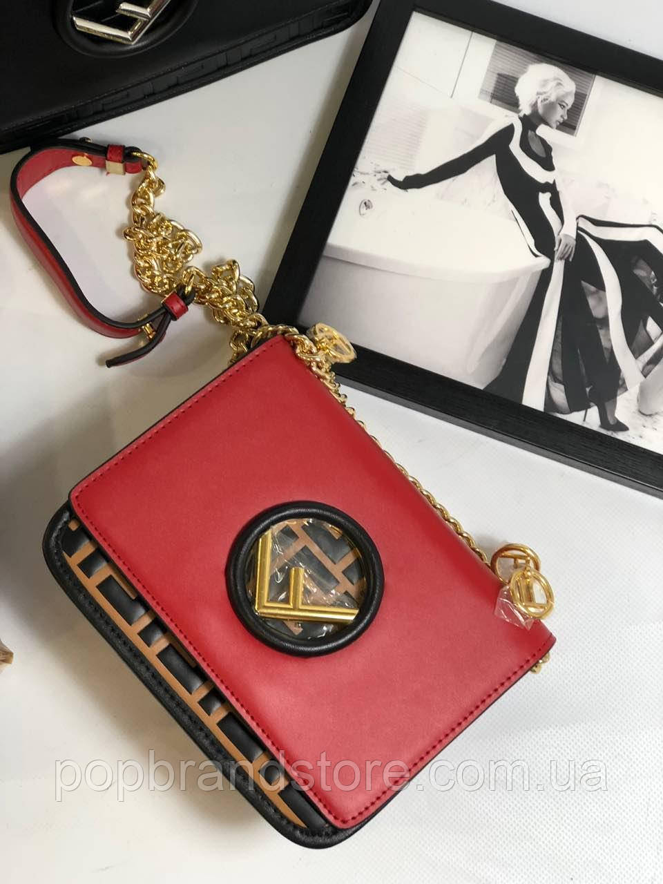 af71e99f733c Модная сумочка FENDI Kan I красная (реплика) - Pop Brand Store | брендовые  сумки