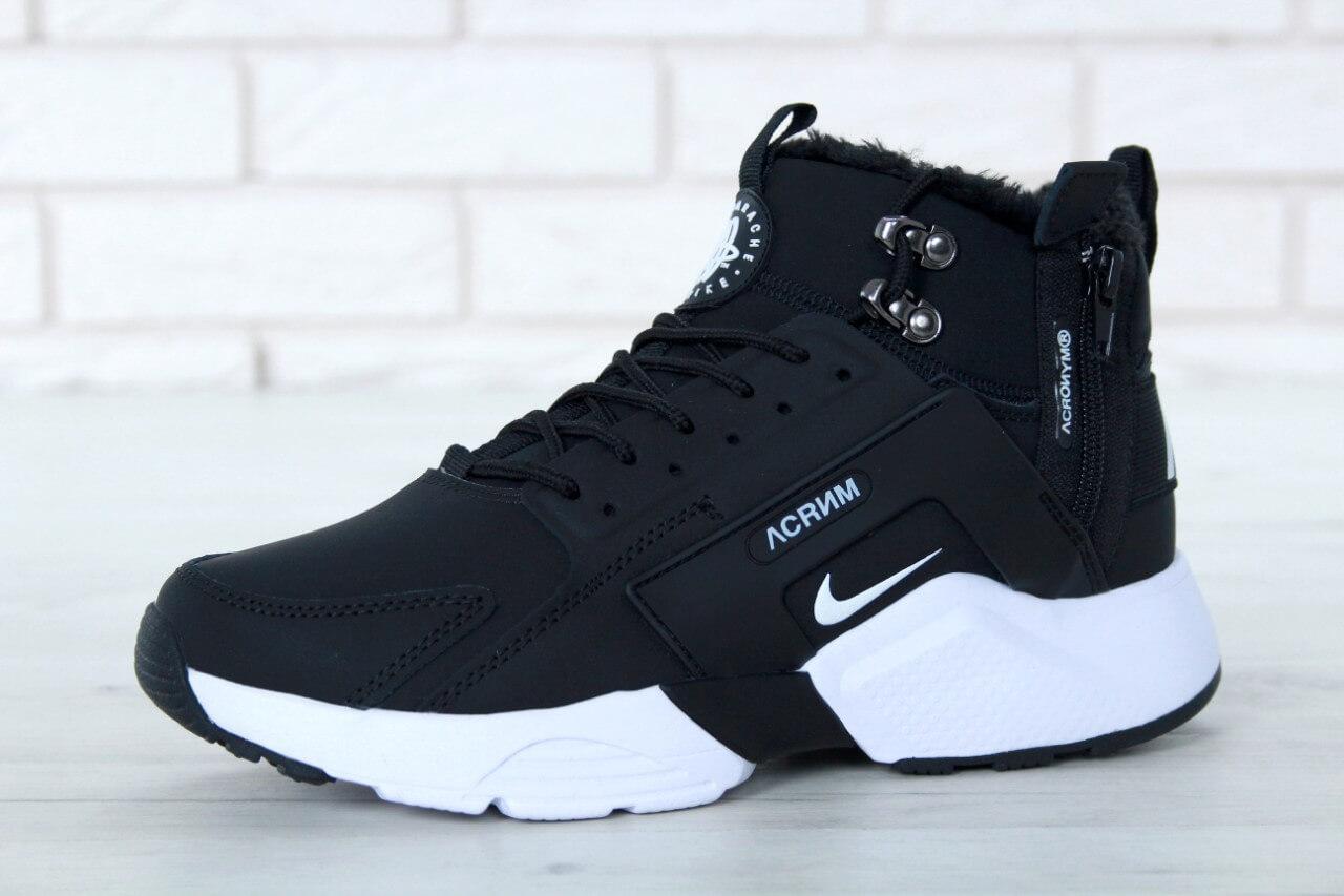 5eaa648f3 Женские кроссовки на меху Nike Huarache X Acronym City Winter Black White,  ...