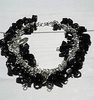 Браслет из черного камня Агат- в  подарок  женщине, фото 1