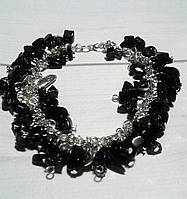 Браслет из черного камня Агат- в  подарок  женщине