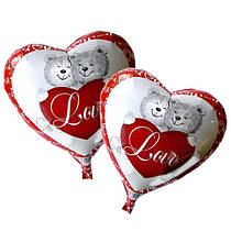 """Фольгированный шар с гелием """"Сердце  с мишками"""" 43х48см."""