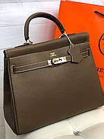 Жіноча сумка Гермес келлі 32 см моко (репліка), фото 1