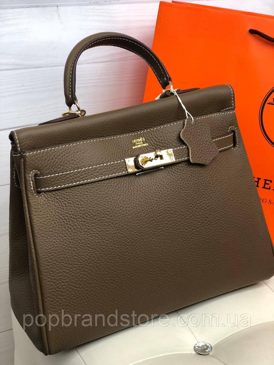 546358d98762 Женская сумка Гермес келли 32 см моко (реплика) - Pop Brand Store    брендовые