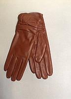 Перчатки женские кожаные рыжие, фото 1