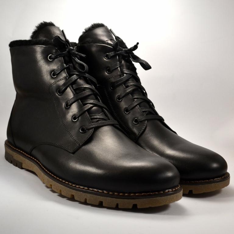Кожаные зимние мужские ботинки Rosso Avangard Night MED Whisper Black черные