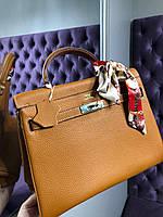 Женская сумка Гермес келли 32 см коричневая (реплика), фото 1