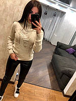 Жіночий вовняний светр з малюнком туфелька ,молочний.Туреччина, фото 1