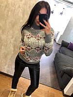 Женский шерстяной свитер с оригинальным принтом, светло серый.Турция, фото 1