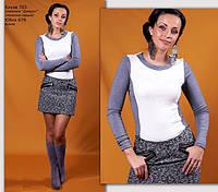Трикотажная блузка молочно-серого цвета