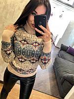 Женский шерстяной свитер с оригинальным принтом, пудра.Турция, фото 1