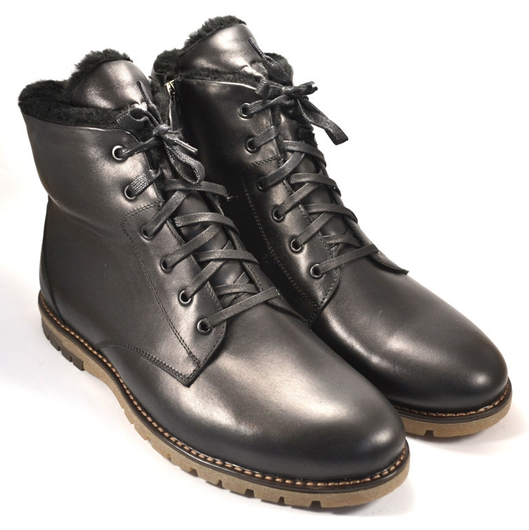 Большой размер ботинки зимние мужские кожаные Rosso Avangard BS Night MED Whisper Black черные