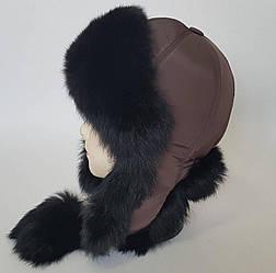 Женская шапка ушанка с мехом кролика