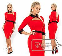 5a02100fa6b Красное элегантное облегающее платье с черным воротником и вырезом на груди.  Арт-3230