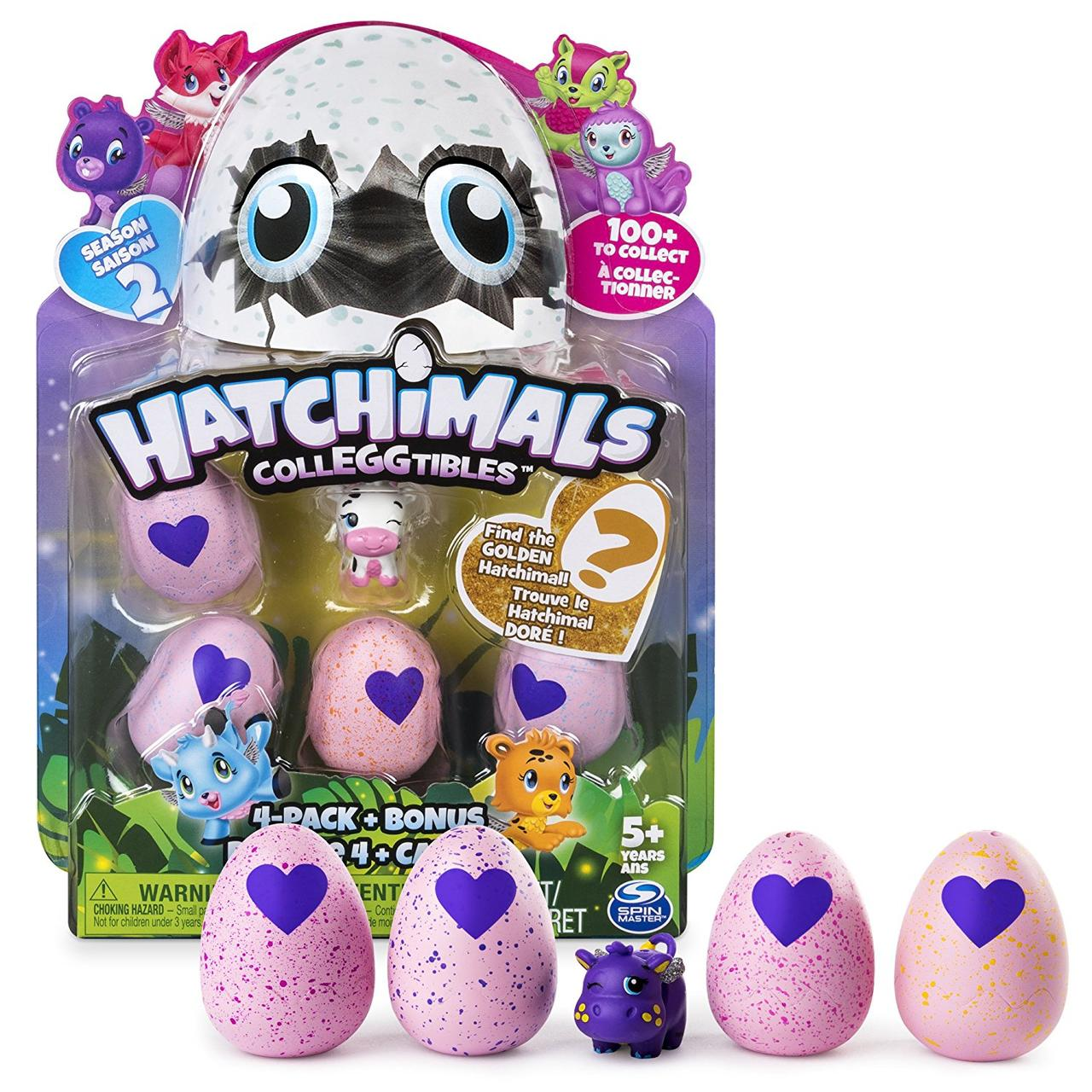 Hatchimals CollEGGtibles Набор Яйца Хатчималс 4 шт + бонусная фигурка, сезон 2, Spin Master из США