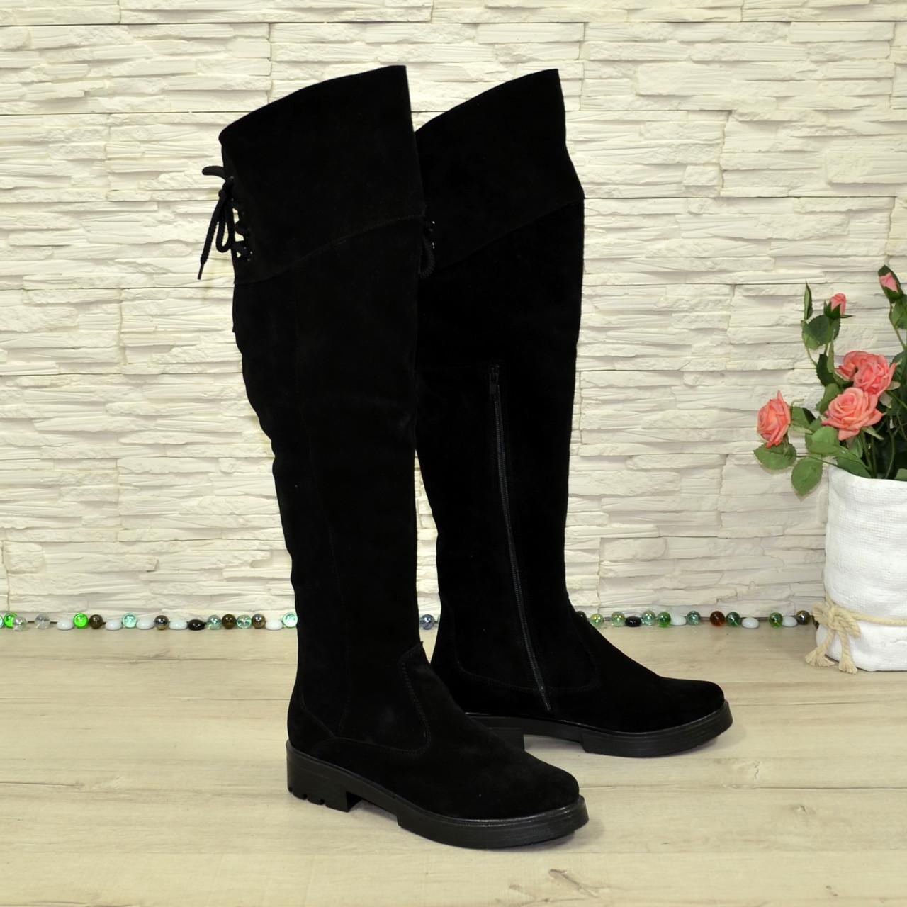 Ботфорты зимние женские черные замшевые на утолщенной подошве