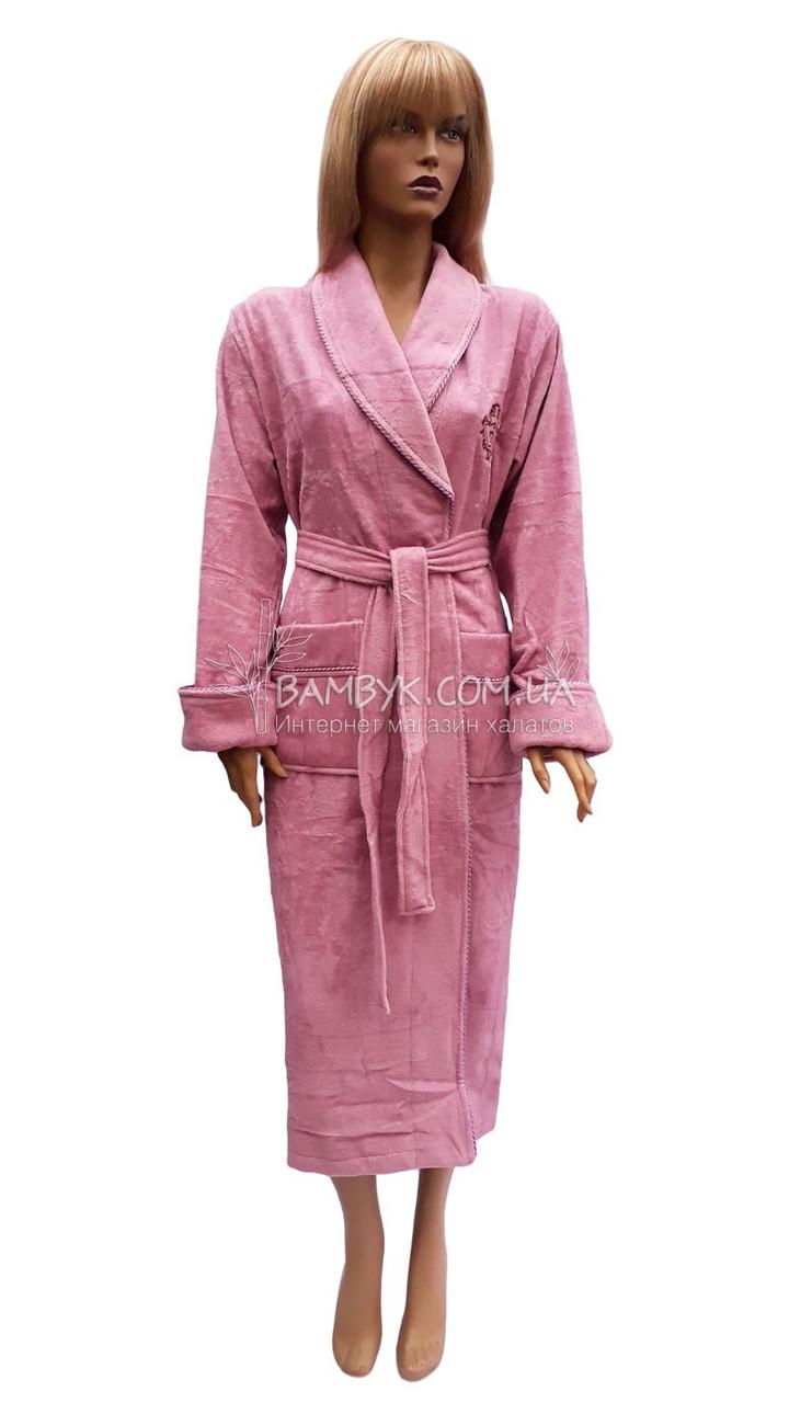 Женский махровый халат Nusa сиренево-розового цвета NS-3995