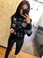 Женский шерстяной свитер со звездочками, синий.Турция, фото 1