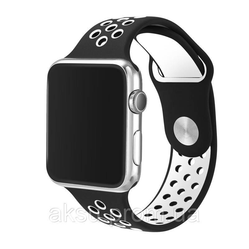 Ремешок для Apple Watch 38mm/40mm Sport Band Nike+ (Black White)