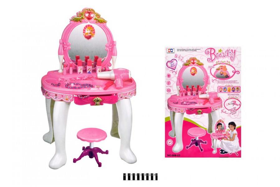 Детский макияжный столик с зеркалом 008-23, набор парикмахерский, трюмо