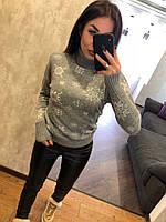 Жіночий вовняний светр із зірочками, світло сірий.Туреччина, фото 1